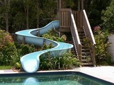 rectangular pool with waterslide - Google Search