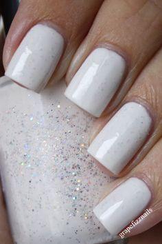 Winter white, for summer add gold glitter. grape fizz nails