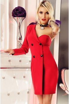 Rochie Alani rosie cu nasturi Curvy Outfits, Bodycon Dress, My Style, Red, How To Wear, Clothes, Dresses, Knowledge, Girls