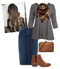 """""""Fall Mixed"""" by ohraee019 on Polyvore featuring GANT, Cool Melon, Peach Couture, Seychelles, MICHAEL Michael Kors and plus size clothing"""