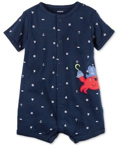 Carter's Nautical-Print Pirate Crab Romper, Baby Boys (0-24 months)