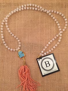 Betsy Pittard Moonstone Beads with Howlite Pendant and Coral Beaded Tassel Necklace