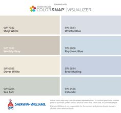 I found these colors with ColorSnap® Visualizer for iPhone by Sherwin-Williams: Shoji White (SW 7042), Worldly Gray (SW 7043), Dover White (SW 6385), Sea Salt (SW 6204), Wishful Blue (SW 6813), Rhythmic Blue (SW 6806), Breathtaking (SW 6814), Icelandic (SW 6526).
