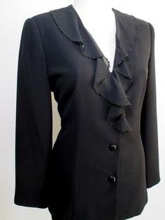 EVAN-PICONE Black Evening Formal Jacket 12 L ~ Bead Embellished Ruffle Collar #EvanPicone #FormalEveningJacket