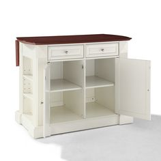 Small Kitchen Islands | ... Drop Leaf Breakfast Bar Top Kitchen Island in White - eFurniture Mart