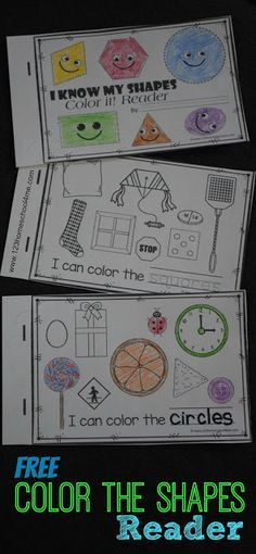 FREE Color the Shapes Reader - Includes shape worksheets for 9 shapes. Kids read a simple sentence trace the shape and color the appropriate shape. Perfect for math centers extra practice for toddler preschool prek kindergarten and first grade. Preschool Colors, Preschool Classroom, Preschool Learning, Preschool Printables, Toddler Preschool, Fun Learning, Classroom Freebies, Learning Spanish, Kindergarten Worksheets