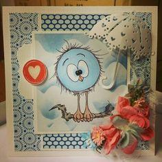brittaskortmakeri.blogspot.se  Ett födelsedagskort.  Karin Zander har ritat den underbara fågeln. Det är en digital stämpel. Gillar den så mycket!  <3