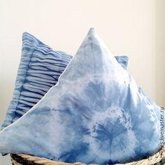 """Dyed cushions / Купить Набор из двух наволочек """"Старик и море"""" - синий, подарок на любой случай, наволочки"""