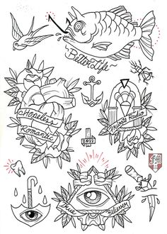 francomaldonado79:  Bouncing Souls Tattoo Flash line work ready for this coming friday 13th!!! color soon!