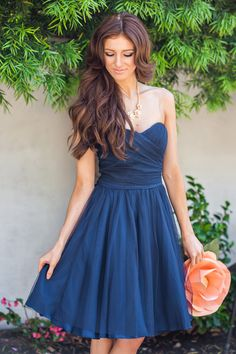 Kathryn Navy Strapless Tulle Dress