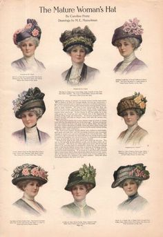 Ladies Tea Party Hats- Make or Buy Victorian Hats 1911 hats for mature Edwardian ladies Tea Hats, Tea Party Hats, Tea Parties, Edwardian Era Fashion, Edwardian Style, Edwardian Clothing, Edwardian Dress, Vintage Clothing, Fascinator
