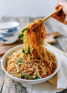 Chicken Mei Fun: Chinese Home-Style Recipe | The Woks of Life Mei Fun Noodles, Chinese Rice Noodles, Mai Fun Noodles Recipe, Chinese Noodle Dishes, Chicken Noodles, Vermicelli Recipes, Rice Vermicelli, Chicken Mei Fun Recipe, Recipes