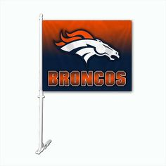 The Denver Broncos Ombre 2-Sided Car Flag easily attaches to you cars or trucks window