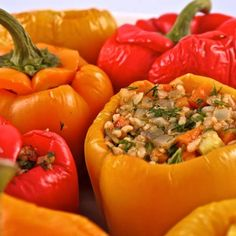 Greek Rice Stuffed Peppers - Add this recipe's ingredients to your shopping list. get.ziplist.com/clipper