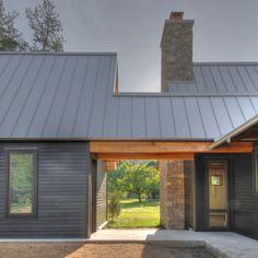 Metal roof. horizontal siding. dog trot. materials. slab on grade.