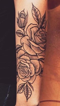 Something like this but with carnation & chrysanthemum for my mom and dad - tatoo feminina Dope Tattoos, Pretty Tattoos, Forearm Tattoos, Unique Tattoos, Beautiful Tattoos, Black Tattoos, Body Art Tattoos, Small Tattoos, Sleeve Tattoos