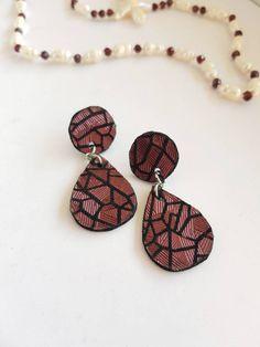 Purple Leather Earrings, Fun Geometric Dangles, Large Statement Jewelry, Metallic Textured Leather, Bold Teardrop Contemporary Earrings