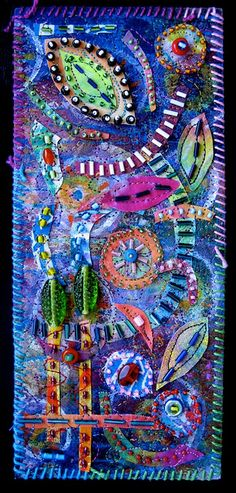 Playful by Susan Sorrell - painted fiber collage and mixed media  http://www.creativechick.com/  http://www.flickr.com/photos/fiberart/with/5034510992/ #textile_art