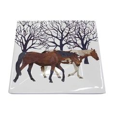 Paperproducts Design New Bone China Small Square Plate Featuring The Distinctive Winter Horses Design, x Multicolor Winter Horse, Horse Artwork, Tabletop Accessories, Square Plates, Fine Paper, Horse Head, Fine Porcelain, Animal Design, Art Images