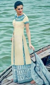 Off White Color Cotton Satin Palazzo Suit #palazzodresses #indianpalazzosuits Steal the hearts away with this off white color cotton satin palazzo suit. This attire is very well created with lace and resham work.  USD $ 88 (Around £ 61 & Euro 67)