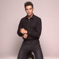 TuxedosOnline.Com has this New Mens Black Dress Shirt with a ...