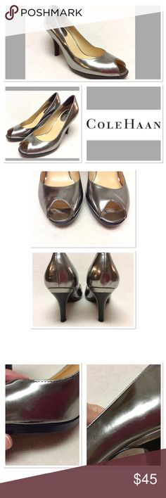 "Shiny silver Cole Haan peep toe pumps size 9.5B EUC, very minor scuffing only as pictured. These are very gently worn. 3.5"" heel with 1/2"" platform, patent leather upper and leather sole. See photos Cole Haan Shoes Heels"