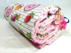 Kocyk nieocieplany 50x75 - Słodycze - jasny róż