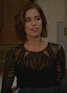 Marisol's black lace illusion dress on Devious Maids Ana Ortiz, Devious Maids, Berry Lipstick, David Meister, Illusion Dress, Work Attire, Gossip Girl, Bellisima, Her Style