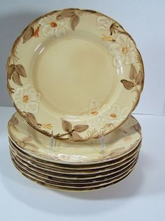 Dinner Plates Cafe Royal Franciscan Set of 8 Earthenware Flowers Retired 1980s #CafeRoyal