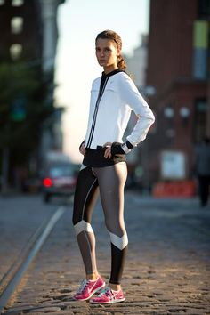 Heat up your look with printed tights. #gear #style #running #nike