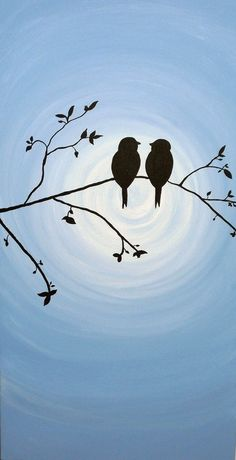Acrylic painting of birds in love.