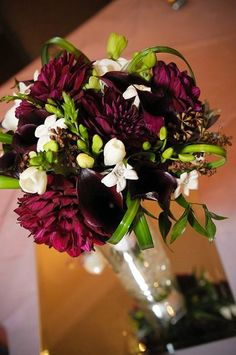 Burgundy Purple White Bouquet Wedding Flowers Photos & Pictures - WeddingWire.com