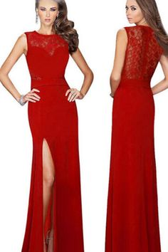 2015 Women Formal Red Lace Sleeveless Sexy Evening Dress