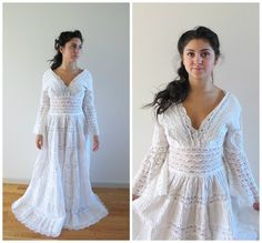 Superb vintage lace mexican wedding dress by TheCircleIsCast on Etsy