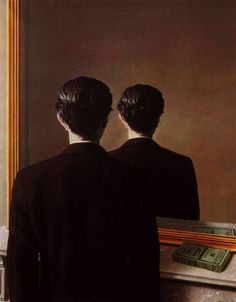 Rene Magritte / la reproduction interdite. Look at my other pin of this painting. Tim Akkerman (dutch singer-songwriter and former member of Di-Rect) made a song called Who's this man, inspired by this painting. You can find it on youtube or on this artboard