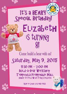 teddy bear birthday invitation pink stripes teddy bear birthday