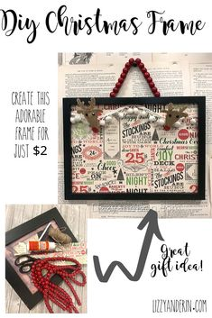 This is a great gift idea and you can create this adorable Christmas frame for just $2. #Christmasdiy #DiyChristmas #Dollartree #DiyChristmasgifts #LizzyandErin #EasyDiygifts Farmhouse Christmas Ornaments, Retro Christmas, Diy Christmas Gifts, Christmas Projects, Diy Christmas Frames, Rustic Christmas, Christmas Decor, Christmas Things, Christmas Christmas