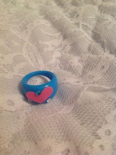 Beautiful pink heart blue ring