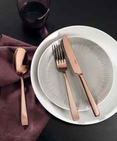 Sambonet Flat 24-delige bestekset - koper?   Woldring Gold Cutlery, Cutlery Set, Flatware, Flats, Tableware, Spoons, Rust, Stainless Steel, People