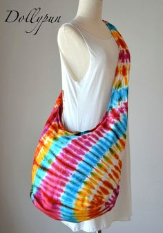 Tie dye bag, Shoulder bag, Boho, Hobo, Messenger, Purse, Diaper bag, Grocery, School bag, All purpose - Rainbow S102355