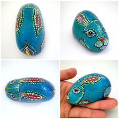 Painted stone // Teal Blue  Rabbit  Animal Totem by ShebboDesign, $30.00
