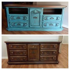 Dresser turned into entertainment center Turquoise and rustoleum metallic bronze  www.facebook.com/missmagicalmadness