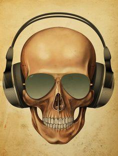 Skull version of me listening to music Memento Mori, Skull Artwork, Skull Painting, Skull Island, Custom Choppers, Custom Bikes, Skulls And Roses, Human Skull, Poster S