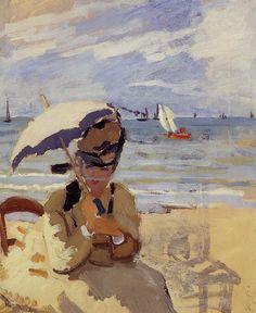 Camille assise sur la plage à Trouville (C Monet - W 159)