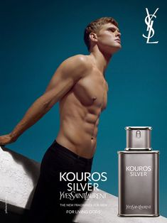 "Mias Van Der Westhuyzen fronts the fragrance campaign for YSL ""Kouros Silver"", shot by Richard Bush and styled by Azza Yousif. Models Men, Top Male Models, Parfum Dior, Perfume Adverts, Yves Saint Laurent Men, St Laurent, Celebrity, Models, Eau De Toilette"
