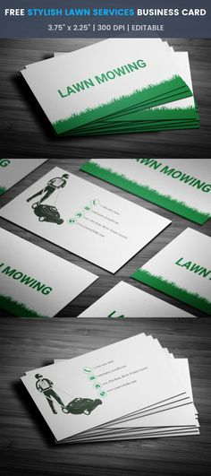 Brilliant Lawn Mowing Business Card Full Preview