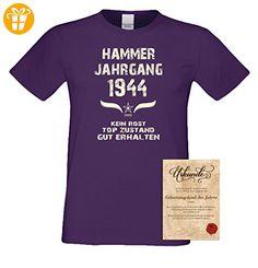 Geburtstagsgeschenk T-Shirt Männer Geschenk zum 73. Geburtstag Hammer Jahrgang 1944 - Herrenshirt - Freizeitshirt Herren Farbe: lila Gr: XL (*Partner-Link)