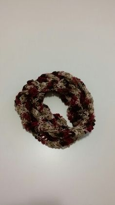 Burgundy and Brown Infinity Scarf