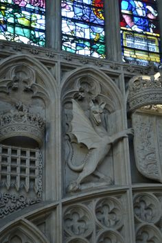 Dragon sculpture, King's College, University of Cambridge, Cambridgeshire, England, UK