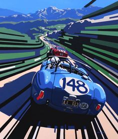 Snakes and Ladders / Tim Layzell Car Posters, Travel Posters, Grand Prix, Automobile, Car Illustration, Vintage Race Car, Car Drawings, Art Graphique, Car Painting